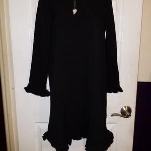 GANNI Ruffle Trim Shift Black Round Neck DRESS